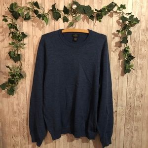 Mens Brooks Brother Navy Blue Merino Wool Sweater